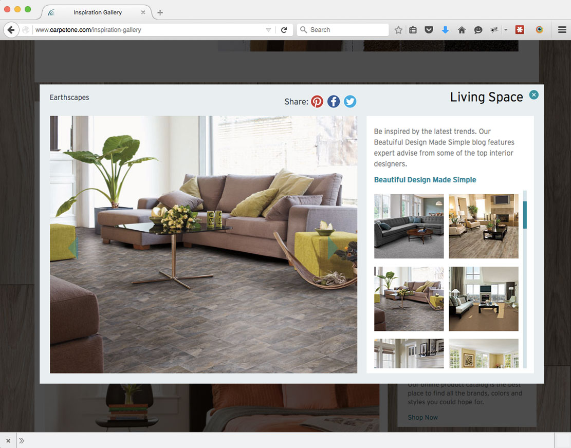 Carpetone Inspiration Gallery in Mike Glazebrook's web developer portfolio