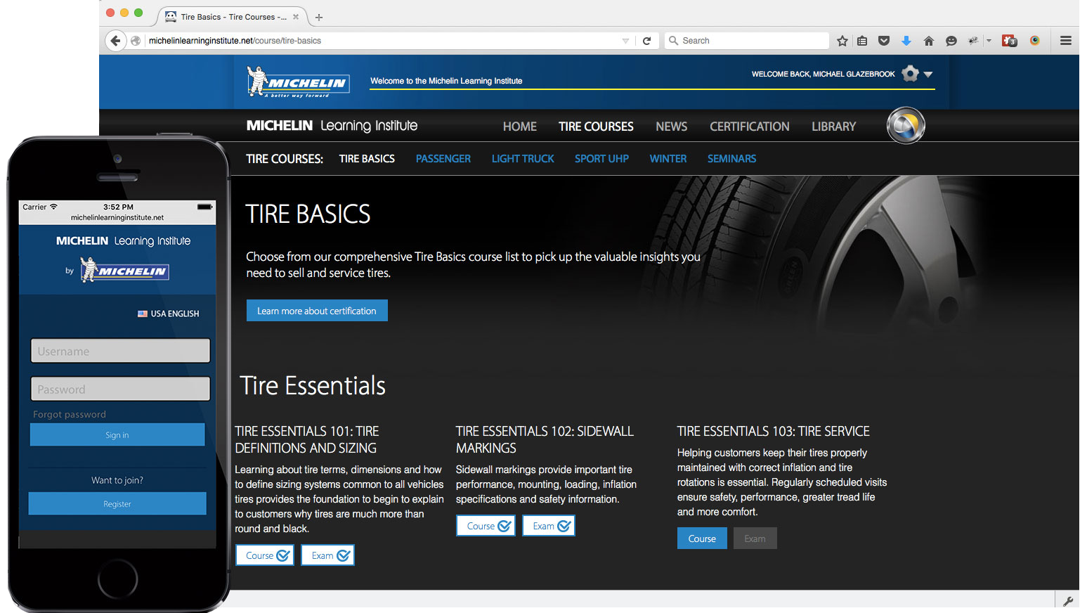 Michelin Learning Institute website in Mike Glazebrook's web developer portfolio