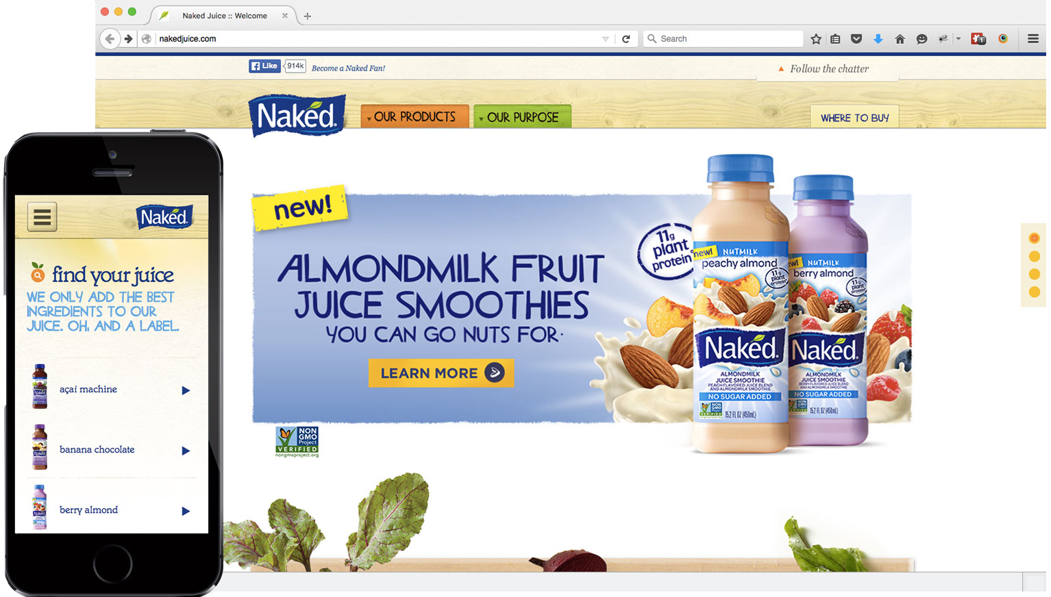 Nakedjuice.com in Mike Glazebrook's web developer portfolio