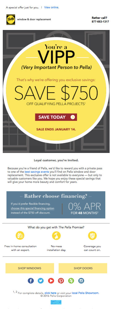 Pella Windows and Doors html email in Mike Glazebrook's web developer portfolio