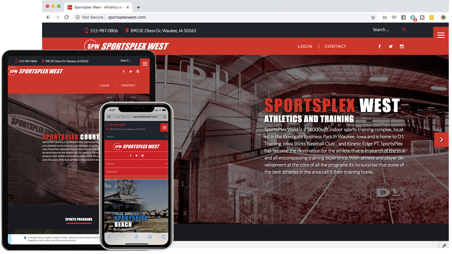 SportsPlex West in Mike Glazebrook's web developer portfolio
